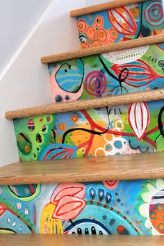 my hand painted stairs are finally installed! they were quite the laborious endeavor, but i'm totally thrilled with how they turned out. find my original stair inspiration here. this set of stairs lead from our living quarters to my home. Painted Stairs, Painted Floors, Painted Furniture, Painted Staircases, Concrete Furniture, Concrete Lamp, Kid Furniture, Stained Concrete, Furniture Design