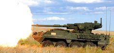 Stryker M1128 Mobile Gun System during firing
