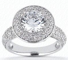 18k White Gold Engagement Halo. Containing 125 matching 0.005ct Round Brilliant Cut Diamonds in G-H color and SI1 clarity. Total diamond weight approx 0.64ct Total gold weight approx. 6 grams Centre Stone Round 0.50ct is not supplied (price available on request). Special prices are limited to rings currently in stock and does not apply to rings that have to be specially ordered or altered.  Old price $3953.70 New price $2864.81