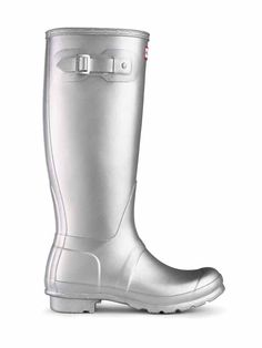 Buy Metallic Silver Hunter Women's Original Tall Wellington Boots from our Women's Shoes & Boots Offers range at John Lewis & Partners. Garden Boots, Hunter Original, Hunter Rain Boots, Wellington Boot, Boots Online, Fashion Essentials, Shoe Boots, Shoes, Footwear