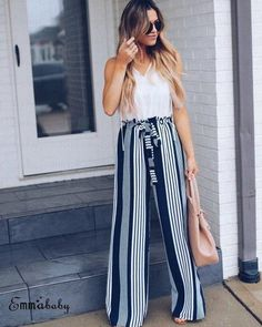 pants New ar-wt Wide Leg Pants Women High Waist Striped lace Loose Pala. - pants New ar-wt Wide Leg Pants Women High Waist Striped lace Loose Palazzo Pants Elegant O - Adrette Outfits, Summer Pants Outfits, Spring Work Outfits, Preppy Outfits, Simple Outfits, Wide Leg Pants Outfit Summer, Fashionable Outfits, White Outfits, Preppy Casual