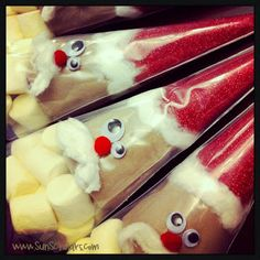 """Cocoa Santas - Supplies for each Santa   Cocoa Mix, about 1-1/2 cups  Marshmallows, about 1-1/2 cups  Plastic Cones (Pastry Bags), 2  Cotton Balls, 3 or 4  Red Pop Pom for Nose, 1  Googly Eyes, 2  Red Paper, about a 6"""" square  Basic Supplies Hot Glue Gun  Tape  Scissors  Twist Tie  Tape"""
