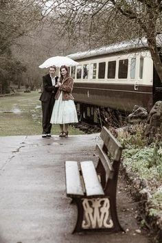 1940s Vintage Railway E-Shoot, Monmouthshire UK | Confetti Daydreams - Train Station Vintage Pre-Wedding and Engagement Shoot in the rain (Charlene Morton Photography) ♥ #Vintage #E-Shoot #EShoot #Engagement  #1940s ♥  ♥  ♥ LIKE US ON FB: www.facebook.com/confettidaydreams  ♥  ♥  ♥