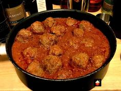 Spanish Meatballs in Garlic Tomato Sauce, Albondigas is a lovely easy dish typically served as Tapas in bars. Great for party food, main meals and appetizers!