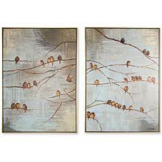 Graham & Brown Flock of Birds 2-Pc. Handpainted Framed Canvas Wall Art... ($160) ❤ liked on Polyvore featuring home, home decor, wall art, neutral, 2 piece wall art, twin pack, canvas wall art, bird canvas wall art and bird wall art