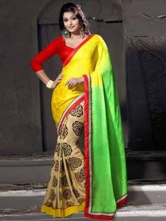 Yellow And Cream Jacquard Saree With Print Work