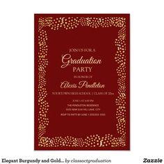 Shop Elegant Burgundy and Gold Glitter Graduation Invitation created by classactgraduation. Elegant Invitations, Zazzle Invitations, Invitation Ideas, High School Classes, Graduation Party Invitations, Burgundy And Gold, Grad Parties, Paper Design, Gold Glitter