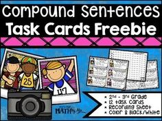 This resource is a great addition to any lesson for 2nd and 3rd graders to practice creating compound sentences.  This freebie offers 12 task cards using the words and, but & so to combine 2 given sentences.  You receive color and black/white task cards and a recording sheet.