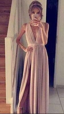 A-Line Prom Dress,Simple Blush Pink Prom Dress,Cheap Prom Dress, Sleeveless Prom Dress,Chiffon Prom Dress,Pink Evening Gowns,Long Party Dress,New Prom Dresses,Split Prom Dress