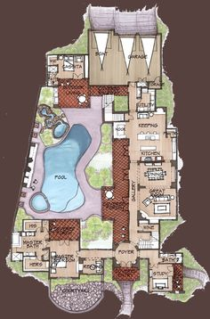 Convert wine into another bedroom accessible from th. Convert wine into another bedroom accessible from the study hallway and Luxury House Plans, Dream House Plans, Modern House Plans, Small House Plans, House Floor Plans, My Dream Home, Unique House Plans, Unique Floor Plans, Modern Houses