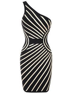 One Shoulder Black and White Sexy Bodycon Bandage Party Dress . Shop Now At http://misscircle.com/Dresses/Bandage-Dress/One-Shoulder/One-Shoulder-Black-and-White-Sexy-Bodycon-Bandage-Party-Dress.html