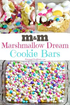 Cookie bars are a classic dessert that is easy to make and a great party food. Our marshmallow dream cookie bars are bursting with candy in a soft cookie dough. This dessert is perfect for Easter or a girls birthday party. Brownie Cookies, M M Cookies, Easter Cookies, Easter Treats, Cookie Bars, Cookie Dough, Easter Food, Easter Brunch, Dessert Party