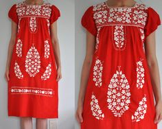 red Mexican dress with white embroidery