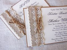 tan invitation with burlap and lace | Handmade Rustic Lace and Burlap Wedding by LoveofCreating on Etsy