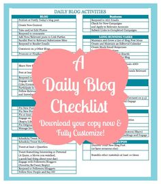Come get access to a fully customizable Daily Blog Checklist! {The Love Nerds} #blogging #blogchecklist #blogtips