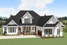 A covered entry porch with a large gable centered above and a courtyard-entry garage greet you to this country Craftsman house plan. Garage House Plans, Craftsman House Plans, New House Plans, Dream House Plans, House Floor Plans, Car Garage, Rambler House Plans, Craftsman Ranch, Craftsman Interior