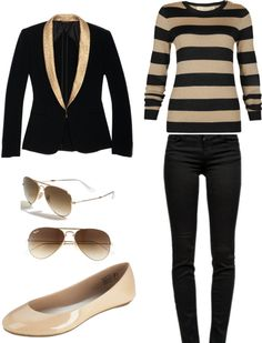 """Black and Tan Teacher Look"" by yeseningles on Polyvore"