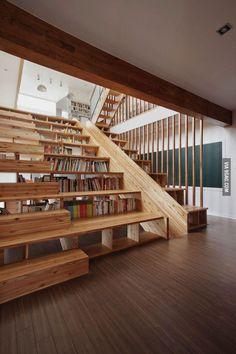 Bookshelf Staircase Slide