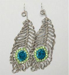 Peacock feather Rhinestone Earrings