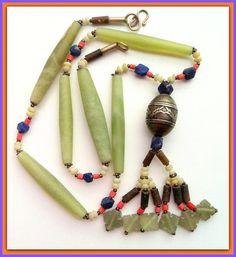 Indian Jade NecklaceCarved JadeLapis Lazuli by BellaEmyJewels
