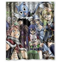Custom Japanese Anime Fairy Tail Big Family Printed Shower Curtain 60 x 72 inches High quality Waterproof bath curtain