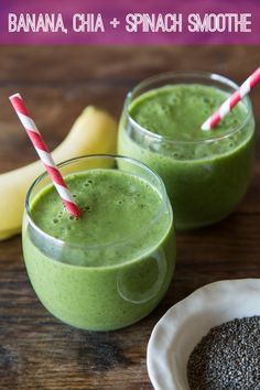 Banana, Chia and Spinach Smoothie - perfect breakfast for sticking with those healthy NY Resolutions!