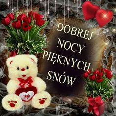 Dobranoc Krysiu 😘😆😘 Weekend Humor, Christmas Wreaths, Christmas Ornaments, Good Night, Teddy Bear, Holiday Decor, Night, Good Night Greetings, Cards