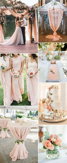 amazing greenery and elegant peach wedding color ideas for summer wedding colors 7 Most Popular Greenery Wedding Color Combos You Can Never Miss Peach Wedding Colors, Wedding Flowers, Rustic Peach Wedding, Burgundy Wedding, Peach Wedding Cakes, Peach Wedding Centerpieces, Blush Wedding Theme, Pink And Gold Wedding, Wedding Vintage