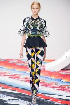 """Lots of peplums on tops & cropped jackets and flounced hemlines on skirts."" Peter Pilotto Spring 2013 RTW"