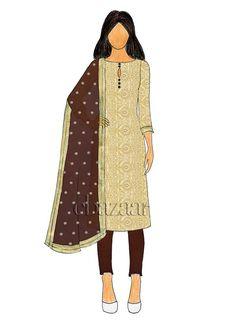 Beige Art Silk N Mountain View Taffeta Straight Pant Suit Indian Bridesmaid Dresses, Indian Dresses, Wedding Dresses, Diy Fashion Dresses, Fashion Outfits, Latest Anarkali Designs, Beige Art, Churidar Designs, Kurti Patterns