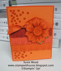 Stampin' Up!- Orange Ombre card- using 'Beautiful Bunch', coordinating Fun Flower punch & Fringe Scissors!