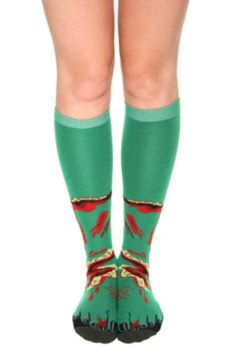 Zombie foot knee high socks! I want these!