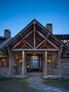 Rustic homes are usually wooden or log homes, that have a lot of natural interior fragments, wood is a king here, starting from wooden stairs to wooden bed frames. Moonlight Basin, Rustic Entry, Wooden Bed Frames, Wooden Stairs, Mountain Homes, Mountain Cabins, Home On The Range, Log Cabin Homes, Log Cabins