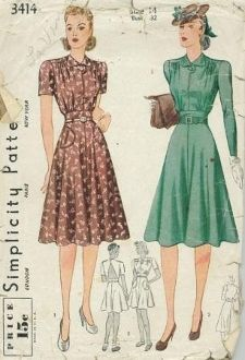 An original ca. 1940 Simplicity Pattern 3414.  Misses' Tailored Dress in two lengths:  Blouse fronts lap and button; shoulder seam placed forward to suggest shoulder yoke.  Four-piece skirt is attached to a two-piece yoke at natural waistline.  Style I has short plain sleeves; skirt is trimmed with bound patch pockets.  Style II has long plain sleeves.  Style III is short length dress has bound patch pockets, short plain sleeves; buttoned at neck above open sun-back.