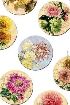Digital Collage Sheet Vintage Flowers от Templates4Sellers на Etsy