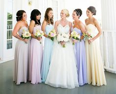 Pretty pastel bridesmaid dresses. While not the exact colors I would have chosen, they look great together and I still love the mixed pastel look. ♥
