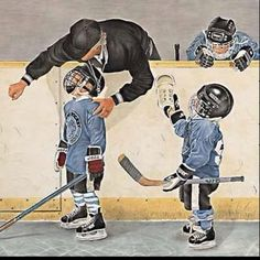 The scene of training little hockey players. They are staidness and cute baby hockey players.
