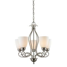 Chatham 5 Light Mini Chandelier Finish/Glass Color: Brushed Nickel/White - http://chandelierspot.com/chatham-5-light-mini-chandelier-finishglass-color-brushed-nickelwhite-590028621/