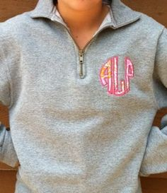 Zip Sweatshirt with Round Appliqued Monogram with Lilly Pulitzer Fabric Lilly Pulitzer Fabric, Monogram Sweatshirt, Fashion Beauty, Womens Fashion, Look At You, Classy And Fabulous, Dress Me Up, Passion For Fashion, Dress To Impress