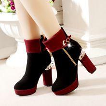 Automne hiver femmes chaussures à talons hauts pompes cheville court bottes plate - forme chaussures(China (Mainland))