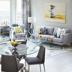Titan Dining Table - Glass -  Modern Living Room - Urban Barn