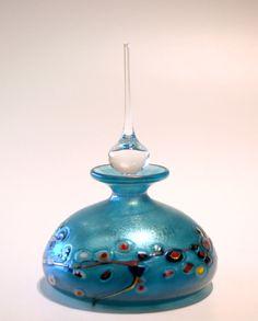 Luster Flower Cane Copper Blue Perfume Bottle -- Robert Held