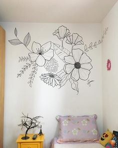 latest wall painting ideas for home to try 37 ~ mantulgan.me latest wall painting ideas for home to try 37 ~ mantulgan.me,Motive latest wall painting ideas for home to try Diy Deco Rangement, Wall Murals Bedroom, Girls Bedroom Mural, Diy Bedroom, Wall Painting Decor, Wall Painting Flowers, Flower Mural, Flower Wall, Modern Apartment Decor