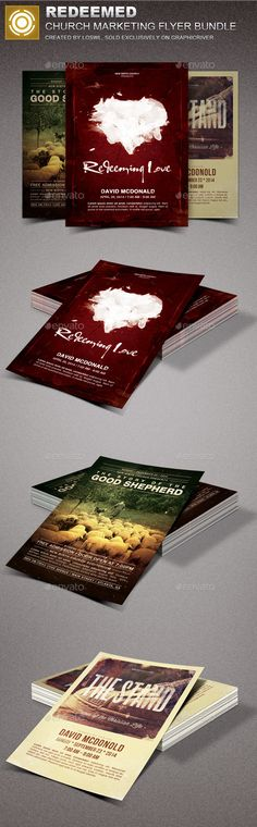 Redeemed Church Marketing Flyer Bundle — Photoshop PSD #creative designs #christmas • Available here → https://graphicriver.net/item/redeemed-church-marketing-flyer-bundle/14899868?ref=pxcr