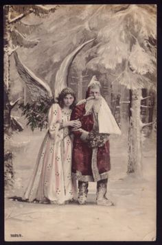 1910s old REAL PHOTO postcard SANTA CLAUS w/BROWN ROBE + ANGEL big FEATHER WINGS