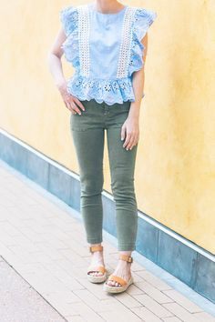 How To Style A Blue Ruffle Eyelet Top For Summer - Poor Little It Girl Blogger Girl, Eyelet Top, Casual T Shirts, What I Wore, Blue Tops, Spring Fashion, Latest Trends, Fashion Looks, Style Inspiration