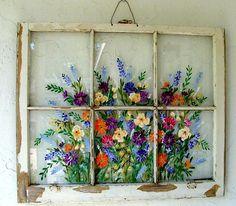 Old Windows/ Painted Windows/ Vintage Windows/ Iris/Hummingbird/Floral Scene/Window Art/ Nature Window/Daisies Old Windows Painted, Antique Windows, Vintage Windows, Painting On Windows, Vintage Doors, Antique Doors, Painting Walls, Old Window Projects, Craft Projects
