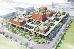 """The Brick Training Complex by VTN Architects will create its own microclimate with the help of """"Sky Walks"""" - like alice in wonderland You are in the right place about Urbanism Architecture model Here we of Architecture Design, Concept Architecture, School Architecture, Sustainable Architecture, Landscape Architecture, Ancient Architecture, Architecture Definition, Urbane Analyse, Sky Walk"""