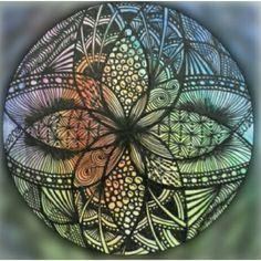 Mandala... aquarela +te.  Zentangle.  Aplicação  de edição  de imagem (lidow)