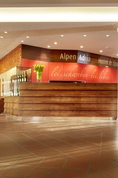 Alpen Adria Hotel & Spa am Pressegger See Spa Hotel, Restaurant, Ski Trips, Front Desk, Family Vacations, Alps, Diner Restaurant, Restaurants, Dining